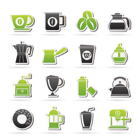 arabica: different types of coffee industry icons
