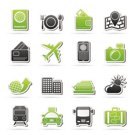 travel, transportation and vacation icons Vector