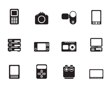 Silhouette technical, media and electronics icons - icon set Stock Vector - 26159879