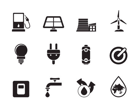 Silhouette Ecology, power and energy icons -  icon set Vector