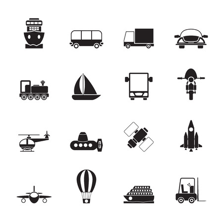 cruiser bike: Silhouette Transportation, travel and shipment icons -  icon set Illustration