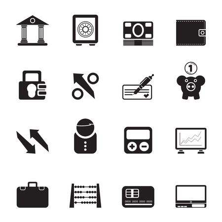 Silhouette Bank, business and finance icons - icon set Vector