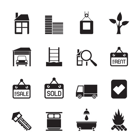 Silhouette Real  Estate and building icons - Icon Set Vector