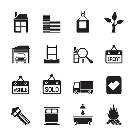incendio casa: Silueta Inmobiliario y construcción iconos - Icon Set
