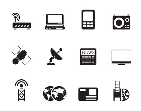 Silhouette Business, technology  communications icons - icon set Vector