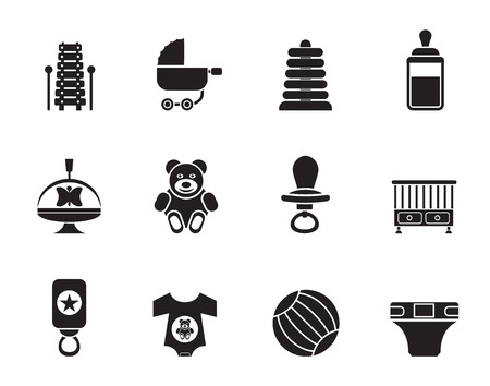 swaddling clothes: Silhouette Child, Baby and Baby Online Shop Icons - Icon Set Illustration