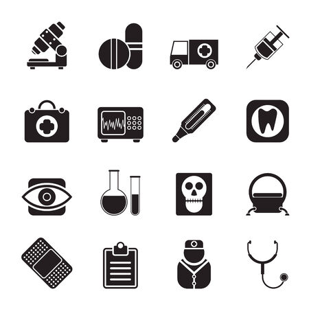 eye doctor: Silhouette medical, hospital and health care icons - icon set