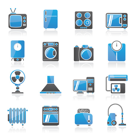 conditioner: home appliances and electronics icons - icon set Illustration