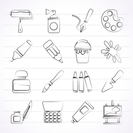 Painting and art object icons - icon set Vector