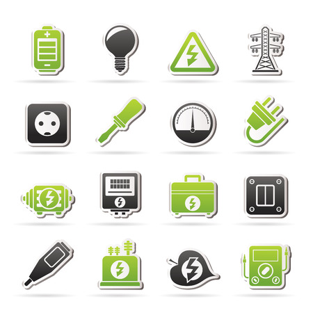 ammeter: Electricity, power and energy icons - icon set Illustration