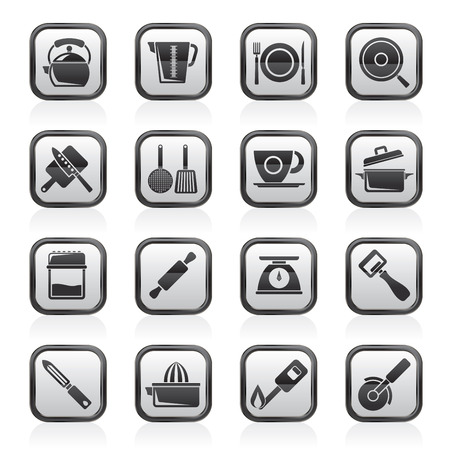 kitchen gadgets and equipment icons - vector icon set Illustration