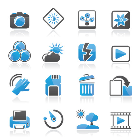 Photography and Camera Function Icons  - vector icon set Vector