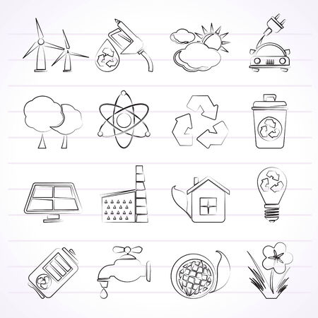 Ecology, environment and recycling icons - vector icon set Vector