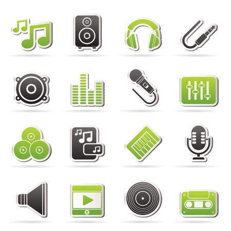 Music, sound and audio icons - vector icon set