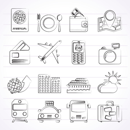 travel, transportation and vacation icons - vector icon set Vector