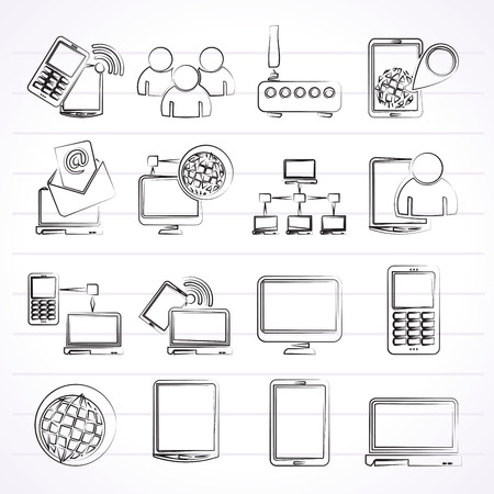 Communication and technology equipment icons - vector icon set Vector