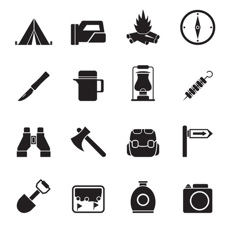 Silhouette tourism and hiking icons - vector icon set Vector