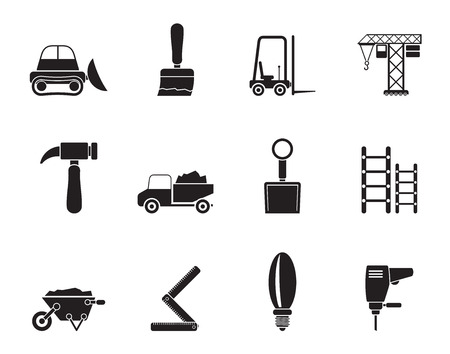 Silhouette Building and Construction equipment icons - Vector Icon Set