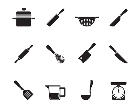 Silhouette Cooking equipment and tools icons - vector icon set