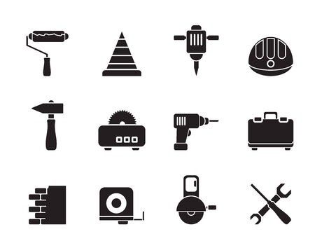 Silhouette Building and Construction Tools icons - Vector Icon Set Vector