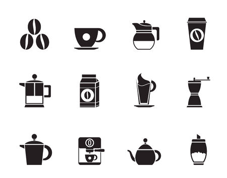 espreso: Silhouette coffee industry signs and icons - vector icon set