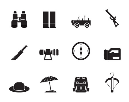 Silhouette safari, hunting and holiday icons - vector icon set Vector