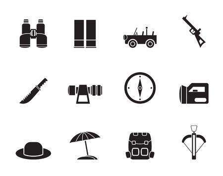 Silhouette safari, hunting and holiday icons - vector icon set