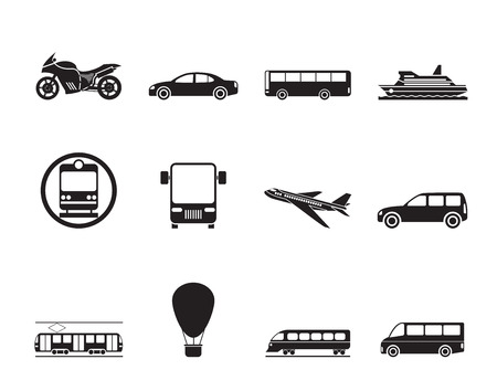 tramcar: Silhouette Travel and transportation of people icons - vector icon set Illustration