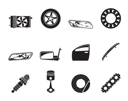 car spare parts: Silhouette Realistic Car Parts and Services icons - Vector Icon Set 1