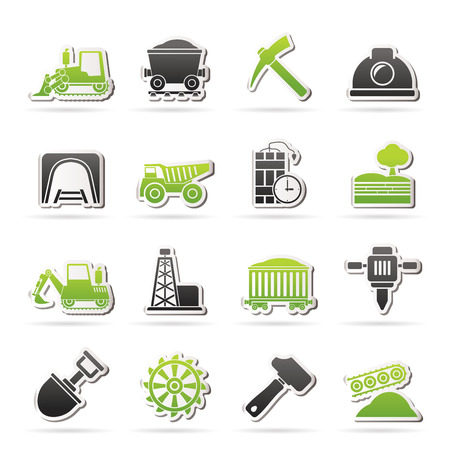mining icons: Mining and quarrying industry icons - vector icon set