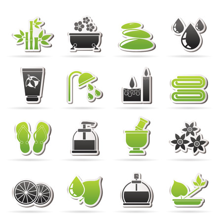 medical shower: Spa and relax objects icons - vector icon set Illustration