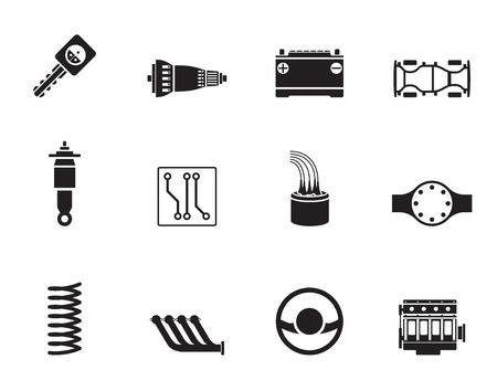 absorber: Silhouette Realistic Car Parts and Services icons - Vector Icon Set 2