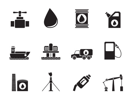 reservoir: Silhouette of oil and petrol industry objects icons