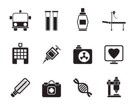 liquid x: Silhouette of Medicine and healthcare icons