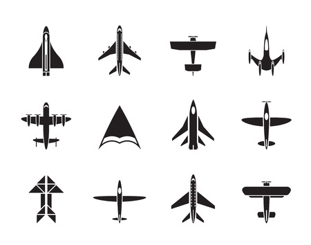 Silhouette of different types of plane icons