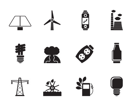 Silhouette of Power, energy and electricity icons Stock Vector - 26933126
