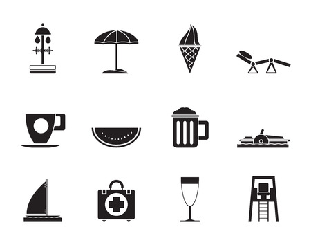 watermelon boat: Silhouette of beach and holiday icons Illustration