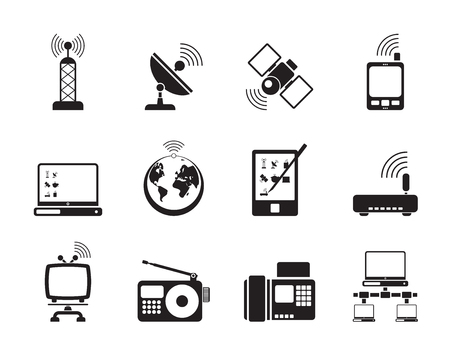 cellular repeater: Silhouette of communication and technology icons Illustration