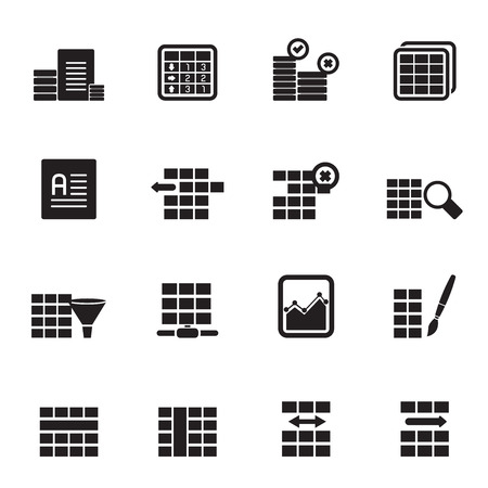 formatting: Silhouette Database and Table Formatting Icons Set