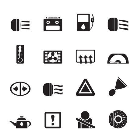 coupling: Silhouette Car Dashboard icons set