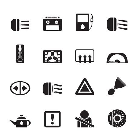 Silhouette Car Dashboard icons set