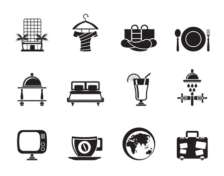 trees services: Silhouette Hotel, motel and holidays icons Illustration