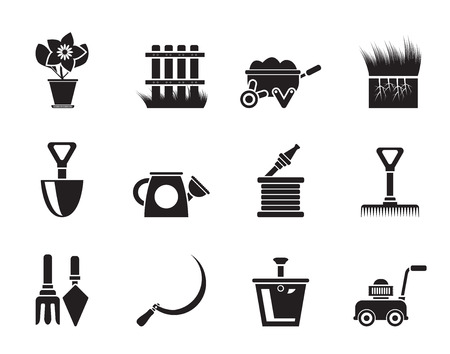enclosure: Silhouette Garden and gardening tools icons Illustration