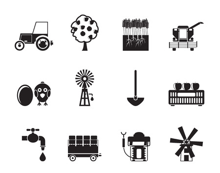 agrimotor: Silhouette farming industry and farming tools icons Illustration