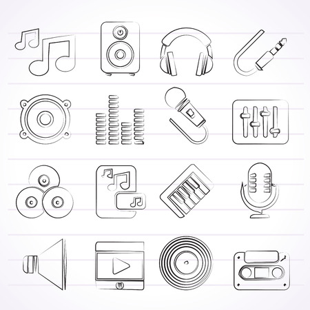 Music, sound and audio icons - vector icon set Vector