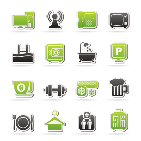Hotel Amenities Services Icons - vector icon set