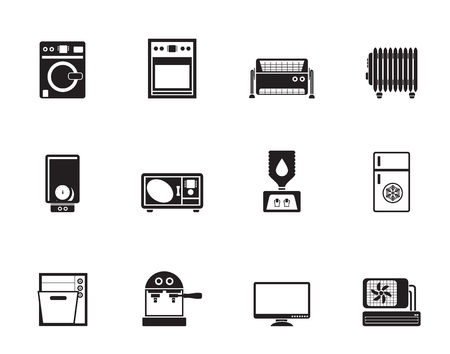 Silhouette Home electronics and equipment icons - vector icon set Vector