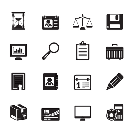 Silhouette Business and office Icons -vector icon set Vector