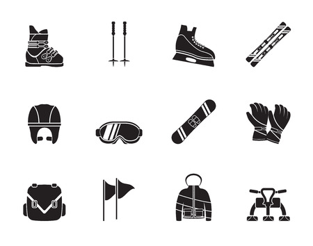 Silhouette ski and snowboard equipment icons - vector icon set Vector