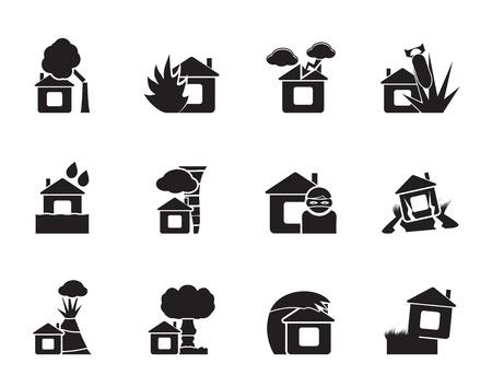 conflagration: Silhouette home and house insurance and risk icons - vector icon set